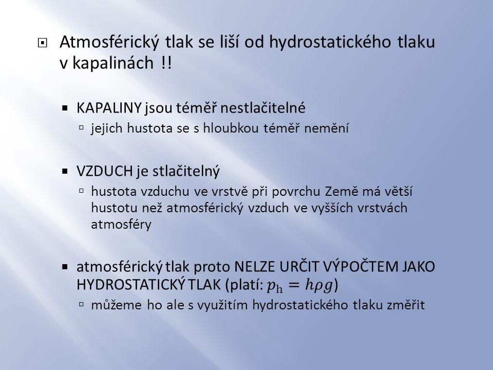 Atmosférický tlak se liší od hydrostatického tlaku v kapalinách !!