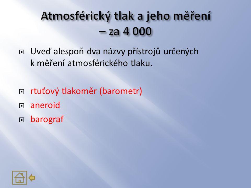 Atmosférický tlak a jeho měření – za 4 000