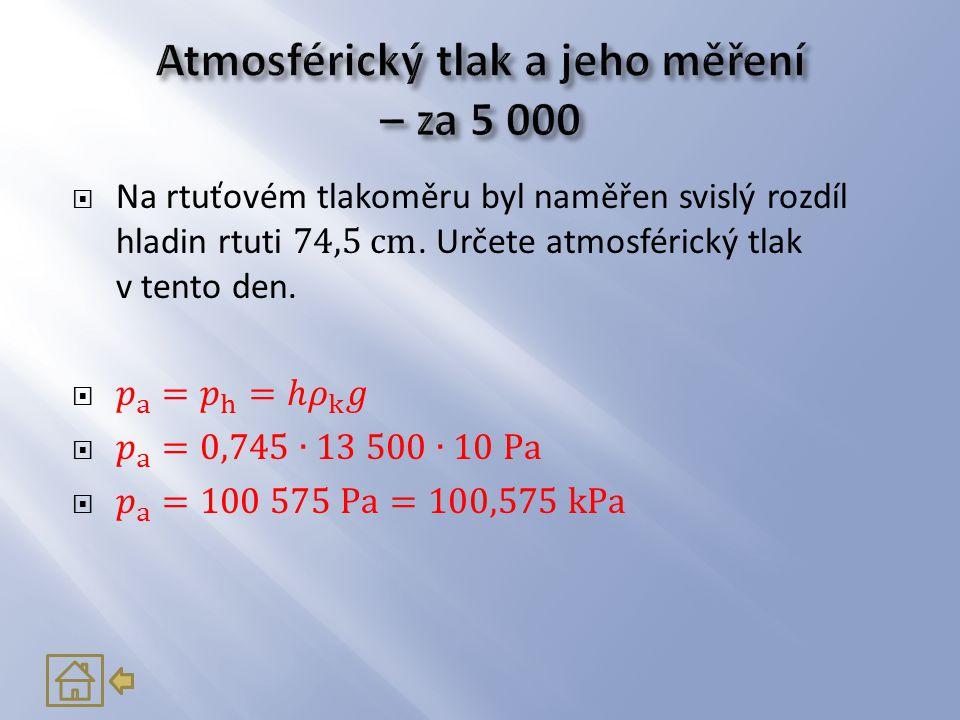 Atmosférický tlak a jeho měření – za 5 000
