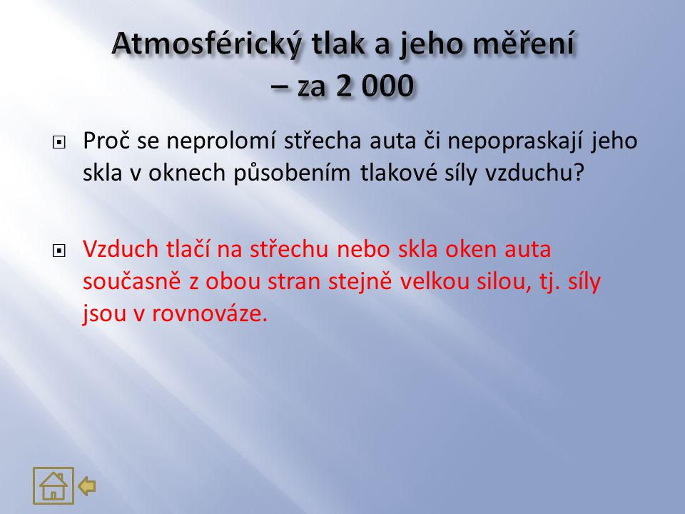Atmosférický tlak a jeho měření – za 2 000
