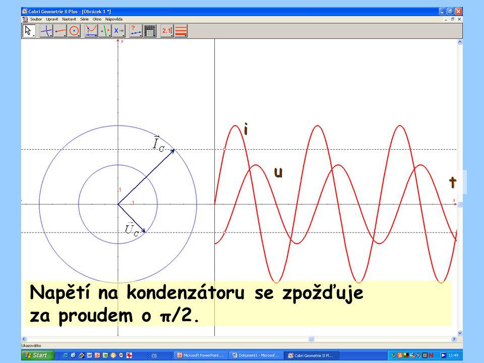 Napětí na kondenzátoru se zpožďuje za proudem o π/2.