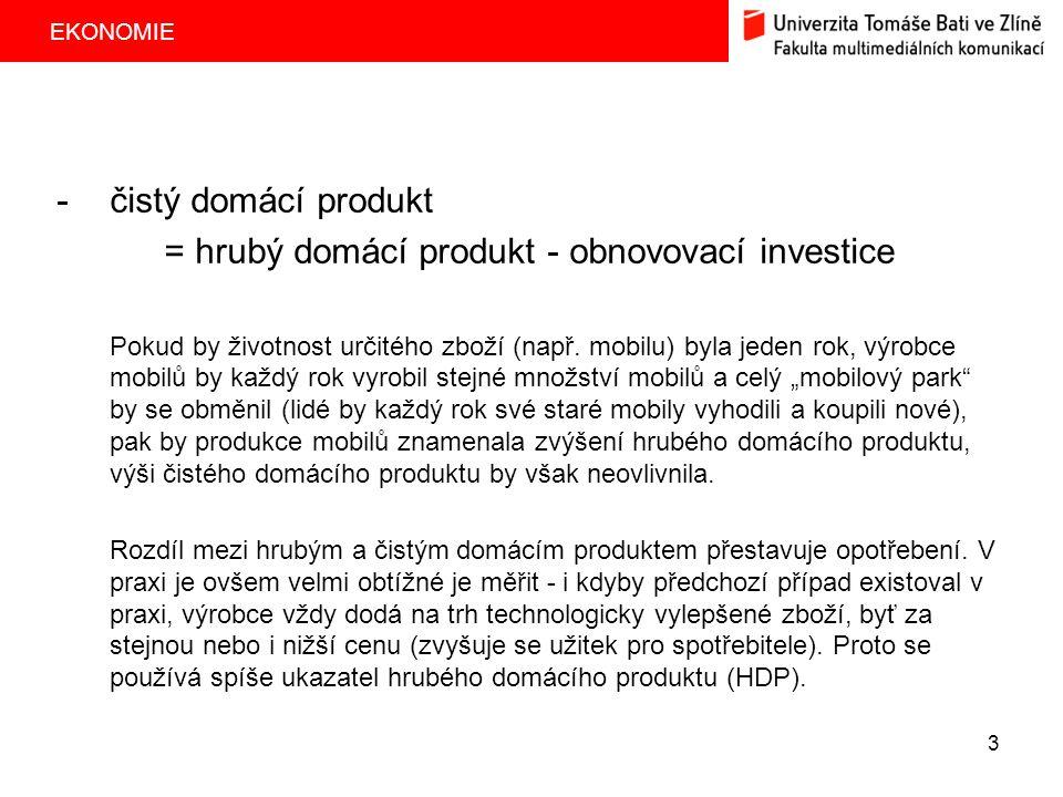 = hrubý domácí produkt - obnovovací investice