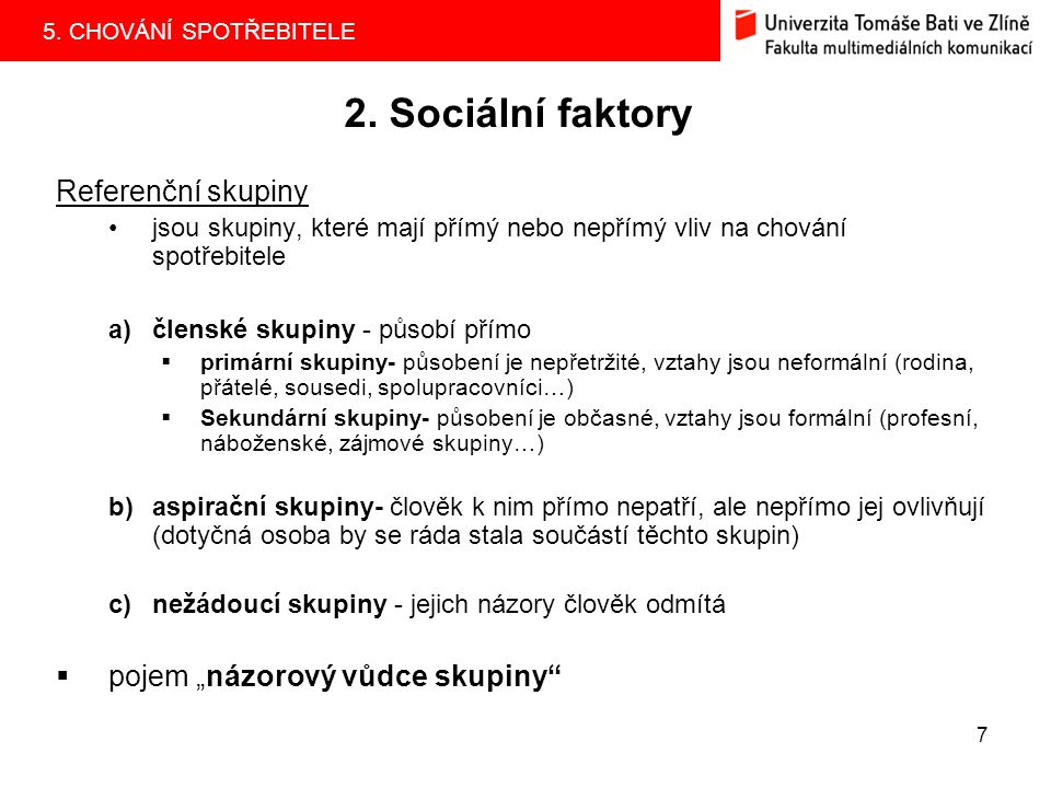 """2. Sociální faktory Referenční skupiny pojem """"názorový vůdce skupiny"""