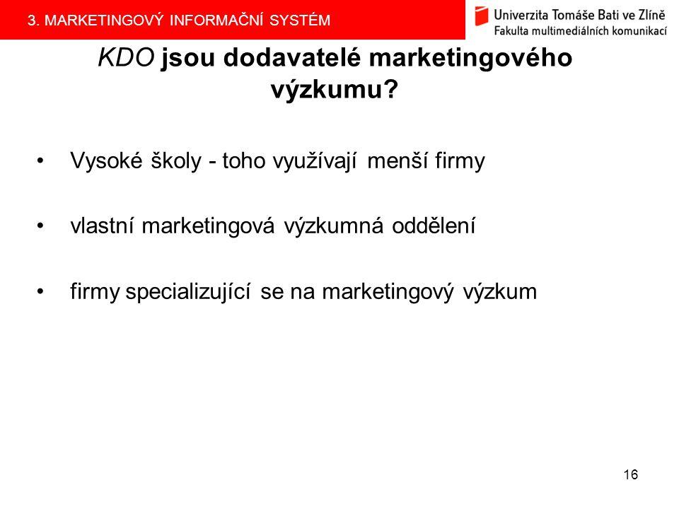 KDO jsou dodavatelé marketingového výzkumu