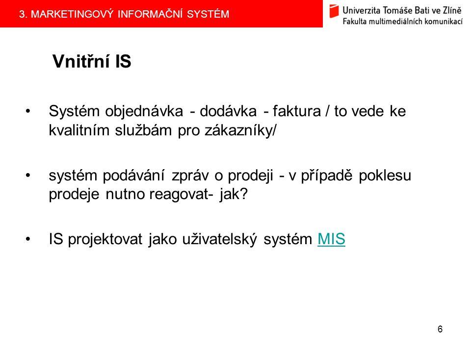 Vnitřní IS Systém objednávka - dodávka - faktura / to vede ke kvalitním službám pro zákazníky/
