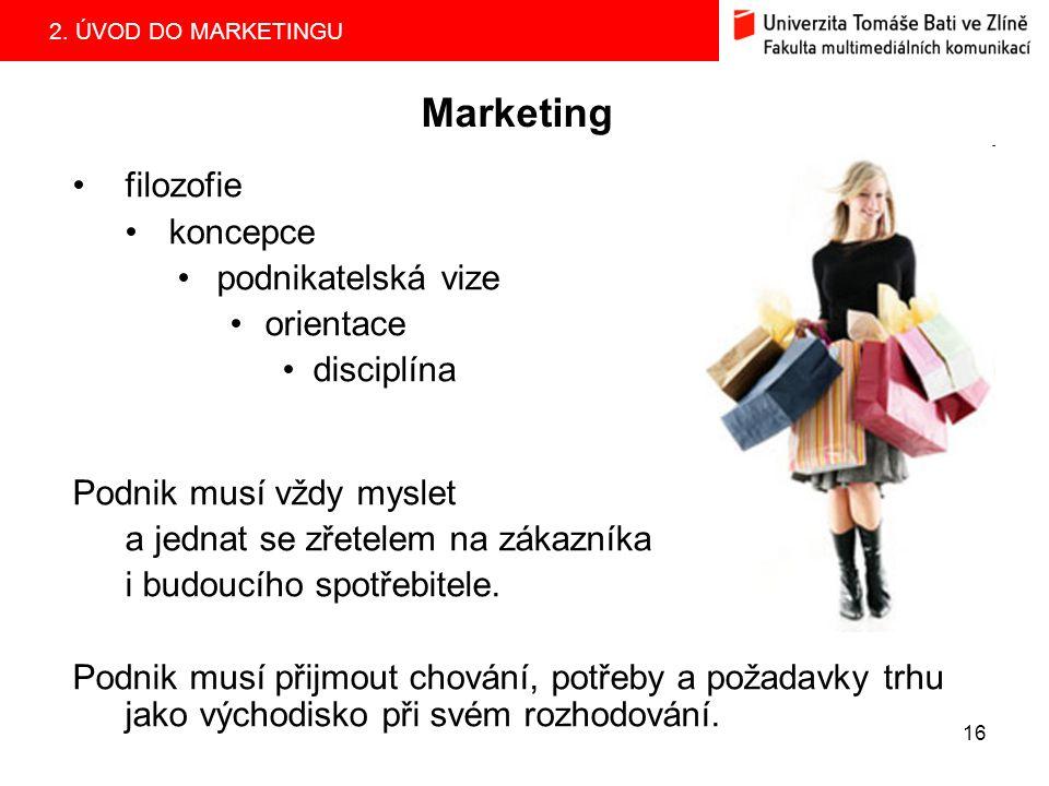 Marketing filozofie koncepce podnikatelská vize orientace disciplína