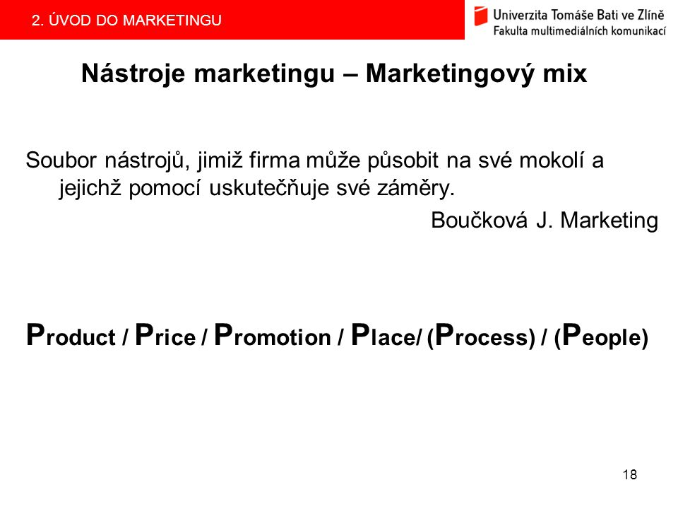 Nástroje marketingu – Marketingový mix