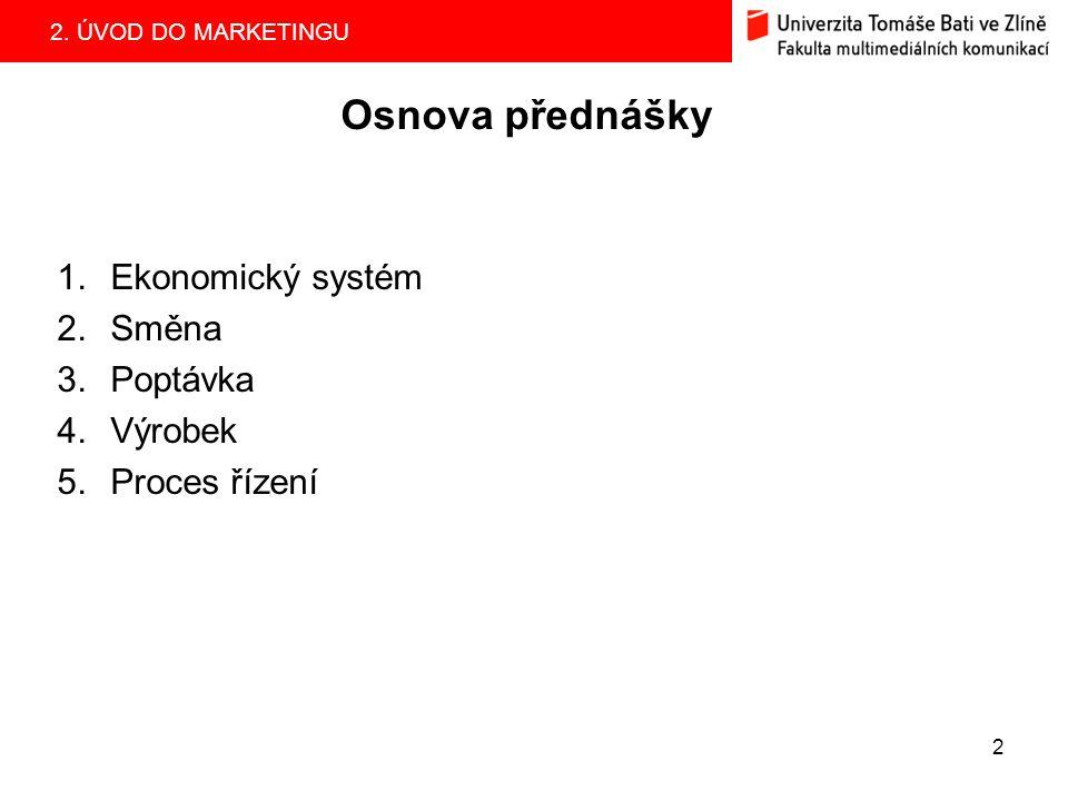 Osnova přednášky Ekonomický systém Směna Poptávka Výrobek