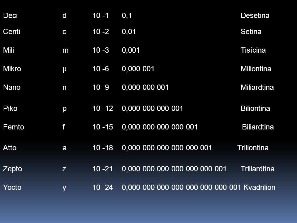 Deci d 10 -1 0,1 Desetina Centi c 10 -2 0,01 Setina. Mili m 10 -3 0,001 Tisícina. Mikro µ 10 -6 0,000 001 Miliontina.
