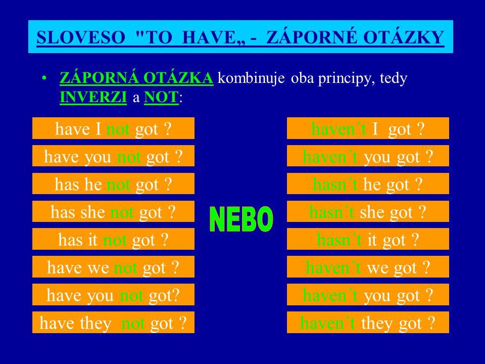 "SLOVESO TO HAVE"" - ZÁPORNÉ OTÁZKY"