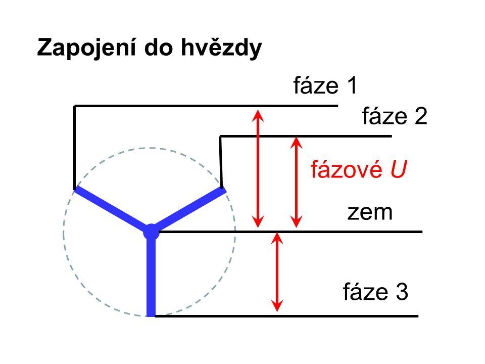 Zapojení do hvězdy fáze 1 fáze 2 fázové U zem fáze 3