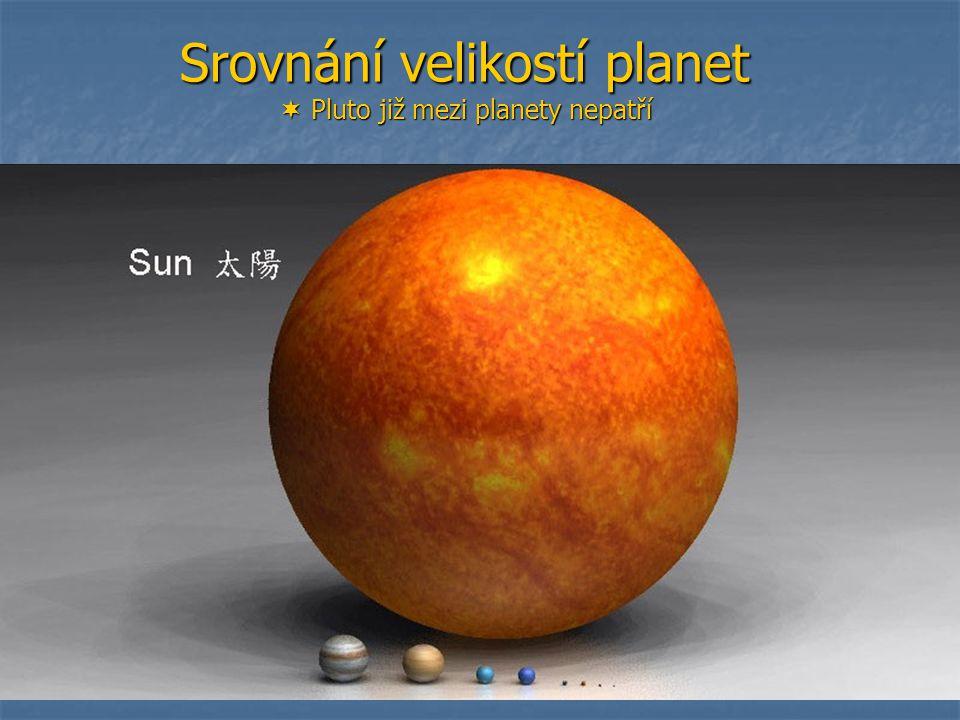 Srovnání velikostí planet  Pluto již mezi planety nepatří
