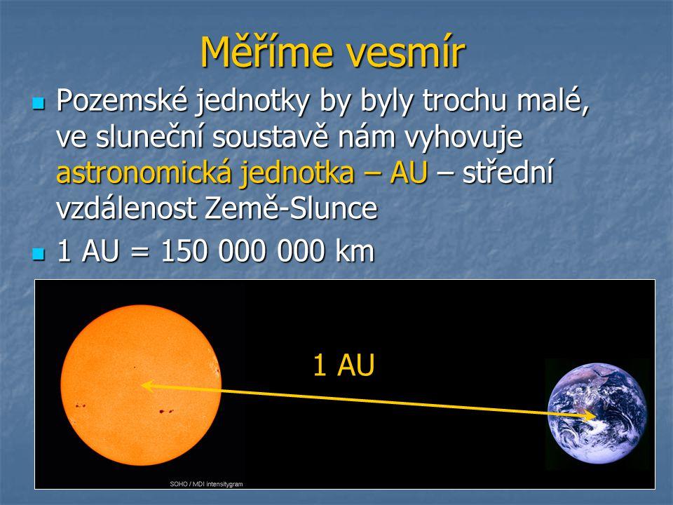 Měříme vesmír Pozemské jednotky by byly trochu malé, ve sluneční soustavě nám vyhovuje astronomická jednotka – AU – střední vzdálenost Země-Slunce.