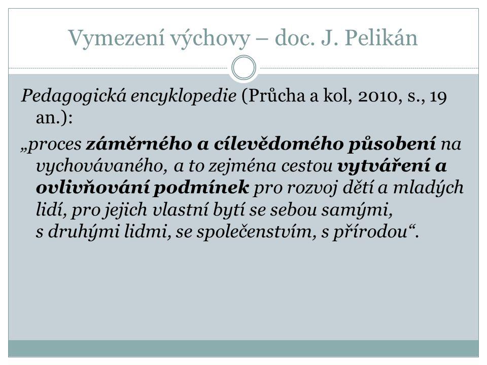 Vymezení výchovy – doc. J. Pelikán