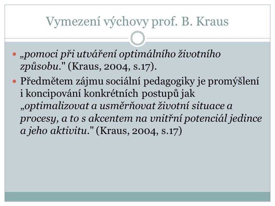 Vymezení výchovy prof. B. Kraus