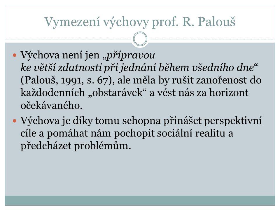 Vymezení výchovy prof. R. Palouš