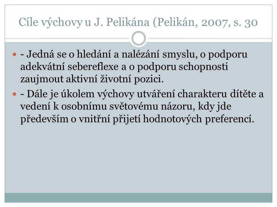Cíle výchovy u J. Pelikána (Pelikán, 2007, s. 30