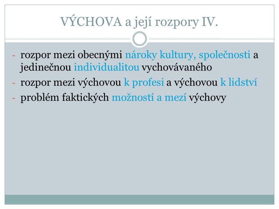 VÝCHOVA a její rozpory IV.