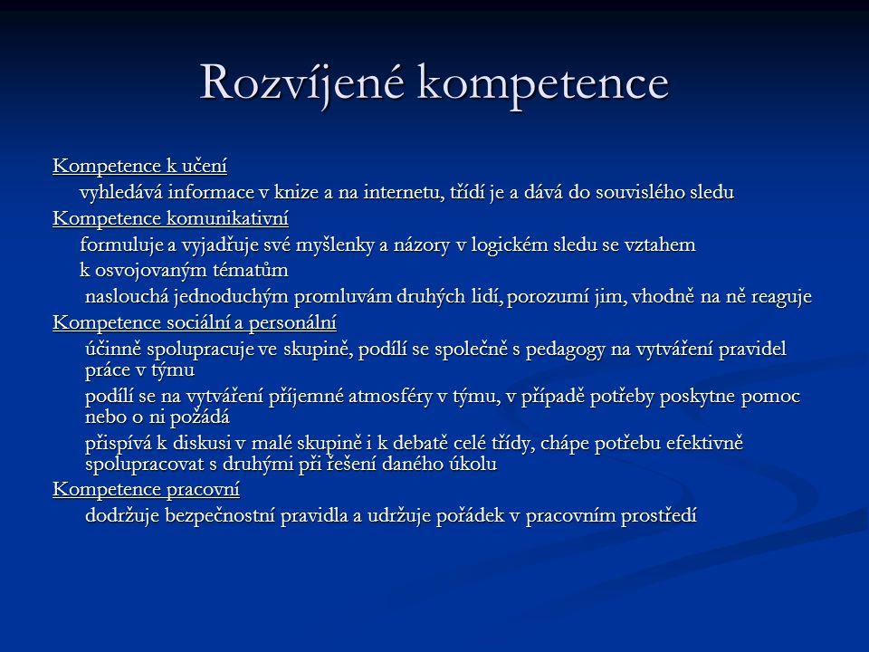 Rozvíjené kompetence Kompetence k učení