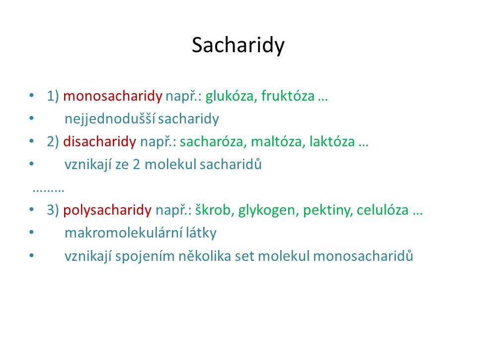 Sacharidy 1) monosacharidy např.: glukóza, fruktóza …