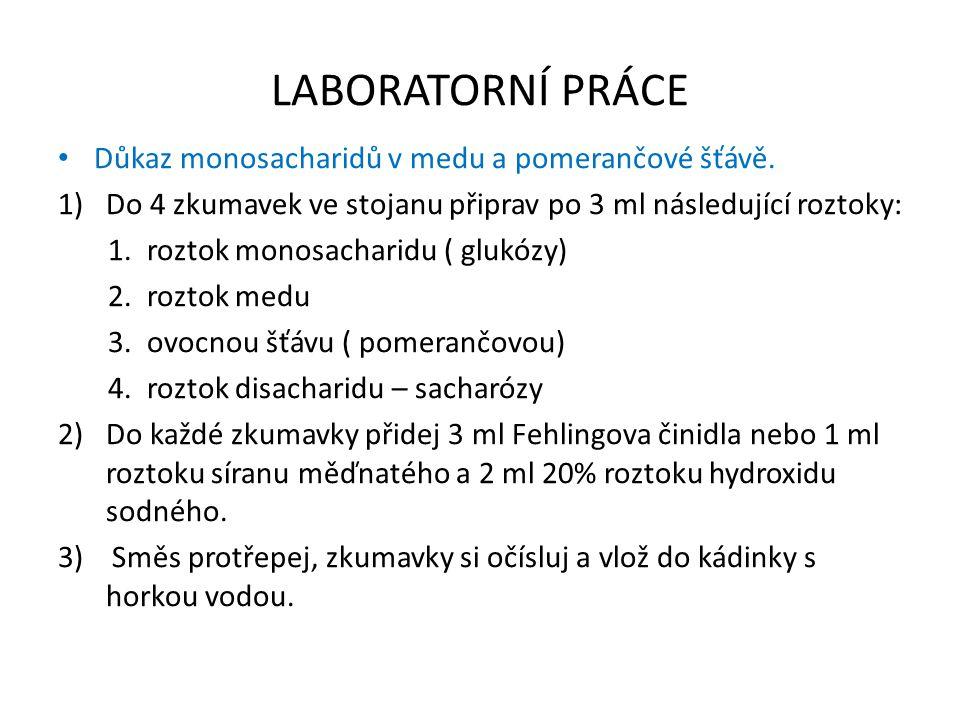 LABORATORNÍ PRÁCE Důkaz monosacharidů v medu a pomerančové šťávě.