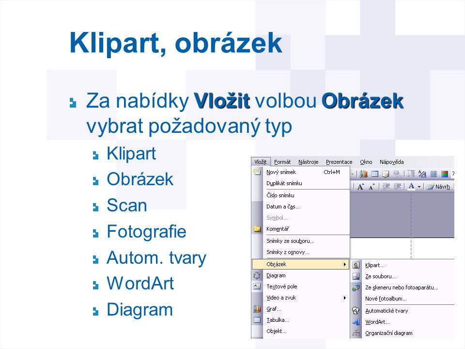 Klipart, obrázek Za nabídky Vložit volbou Obrázek vybrat požadovaný typ. Klipart. Obrázek. Scan.