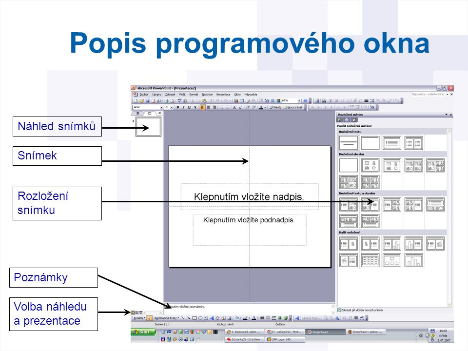 Popis programového okna