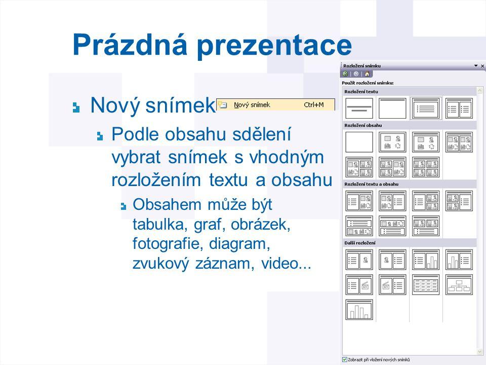 Prázdná prezentace Nový snímek