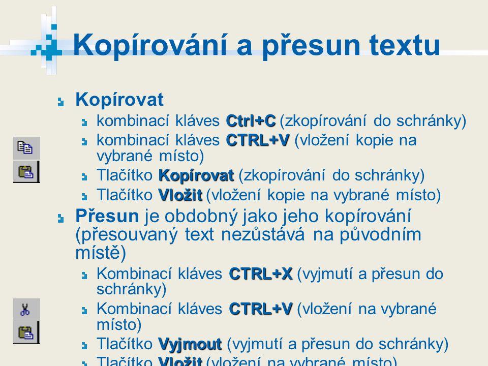 Kopírování a přesun textu