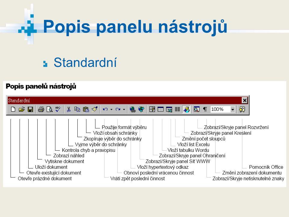 Popis panelu nástrojů Standardní