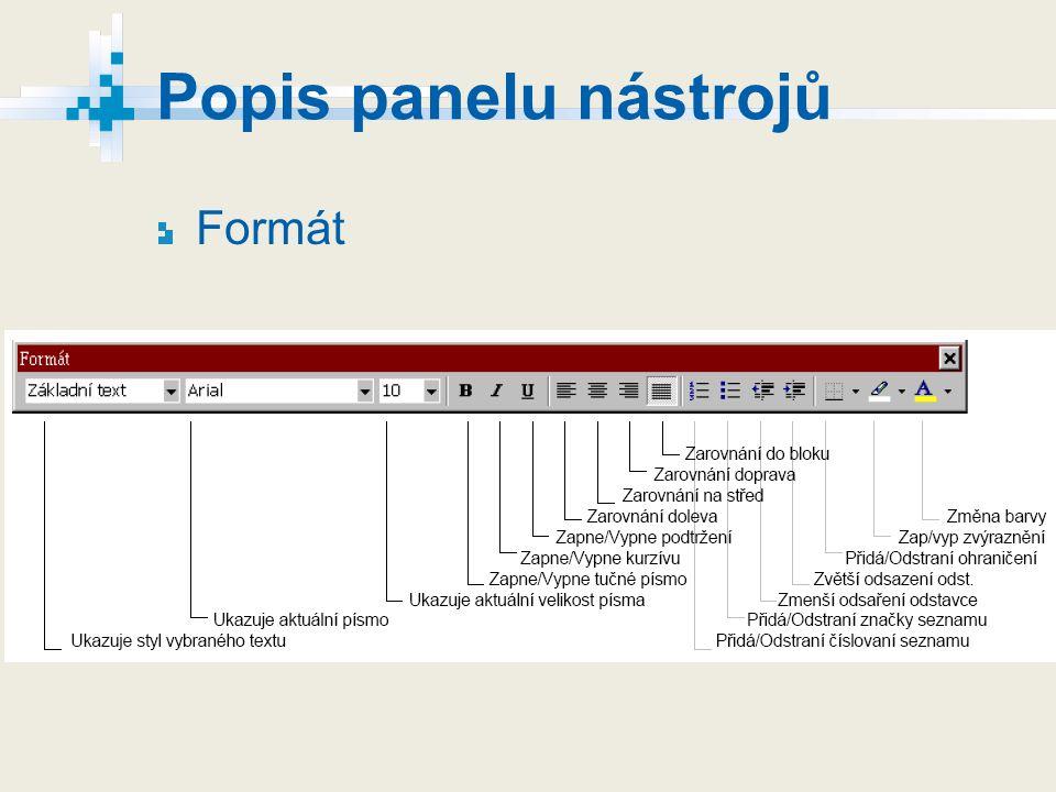 Popis panelu nástrojů Formát