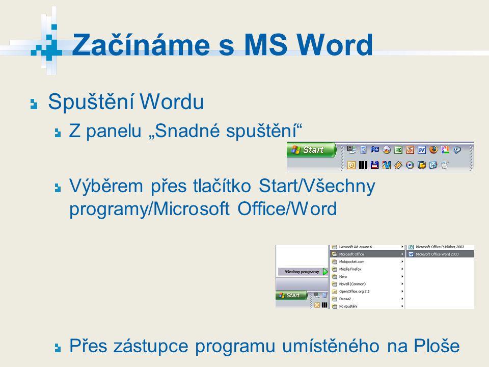 """Začínáme s MS Word Spuštění Wordu Z panelu """"Snadné spuštění"""