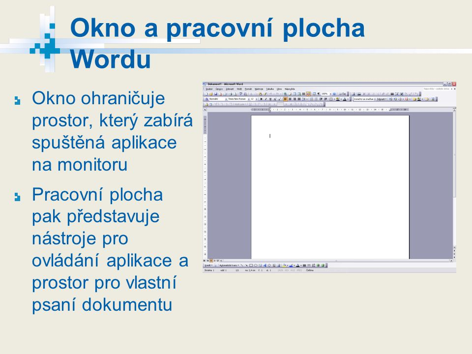 Okno a pracovní plocha Wordu