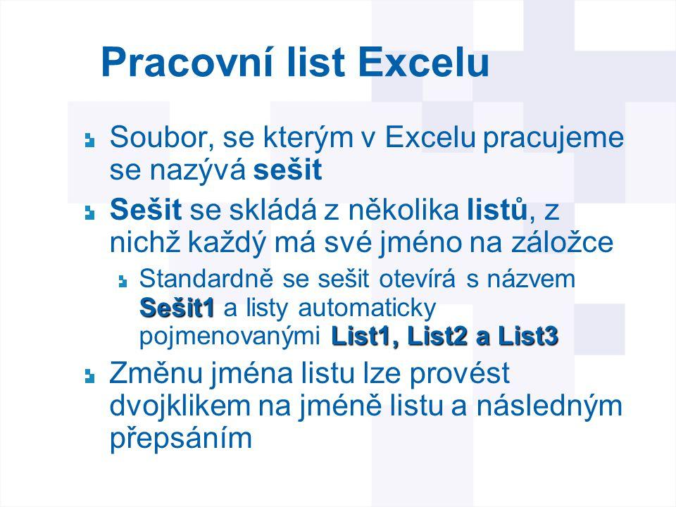 Pracovní list Excelu Soubor, se kterým v Excelu pracujeme se nazývá sešit. Sešit se skládá z několika listů, z nichž každý má své jméno na záložce.