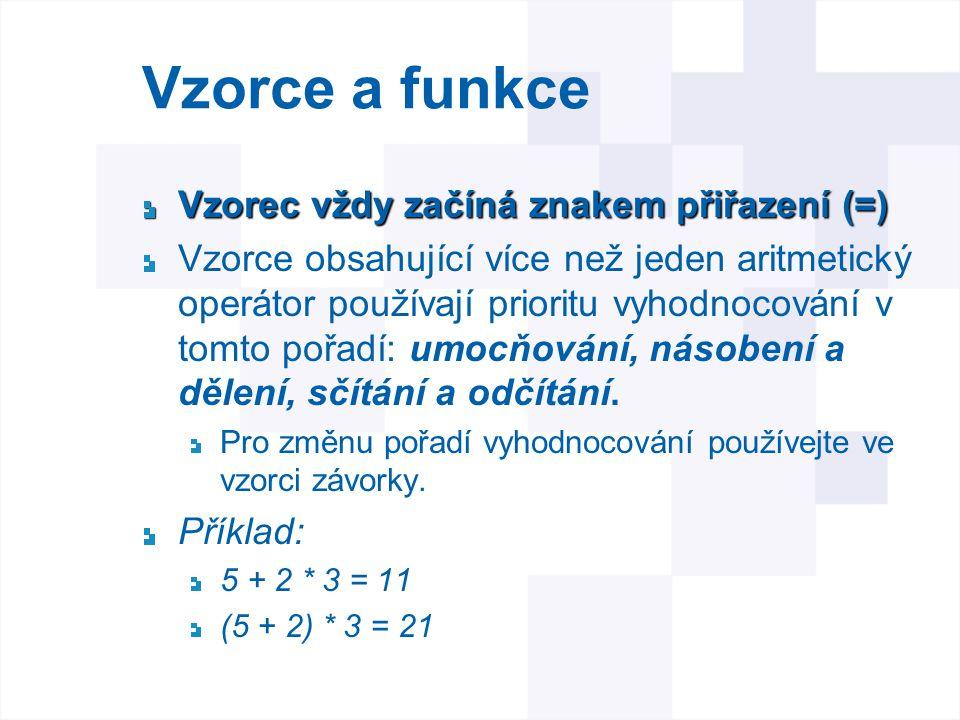 Vzorce a funkce Vzorec vždy začíná znakem přiřazení (=)