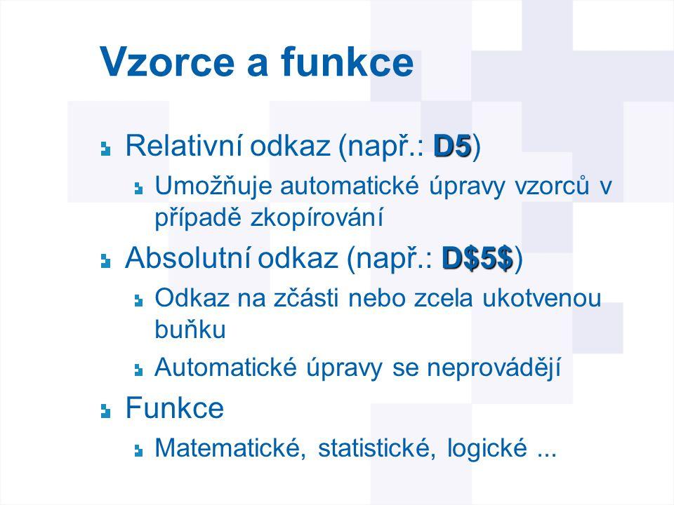 Vzorce a funkce Relativní odkaz (např.: D5)