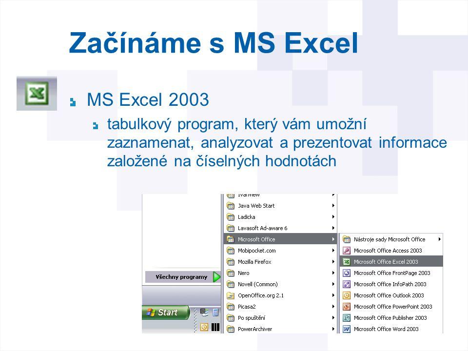 Začínáme s MS Excel MS Excel 2003