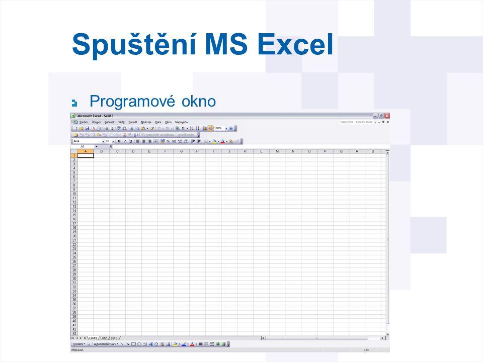 Spuštění MS Excel Programové okno