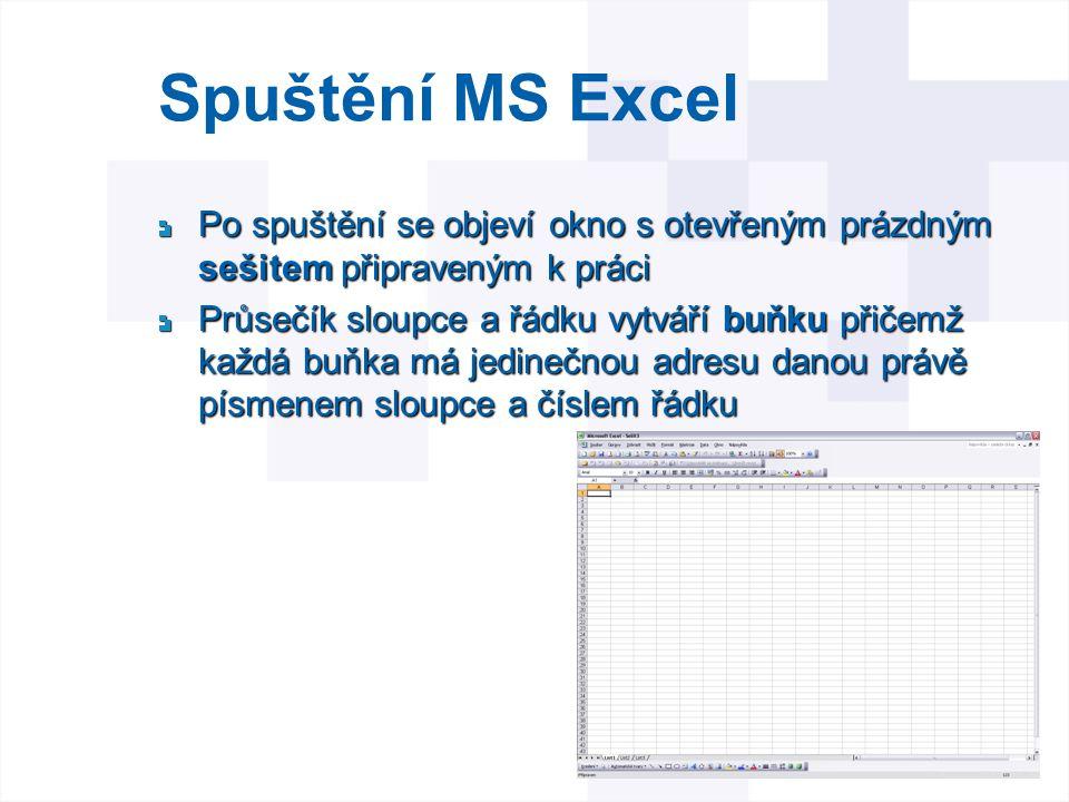 Spuštění MS Excel Po spuštění se objeví okno s otevřeným prázdným sešitem připraveným k práci.