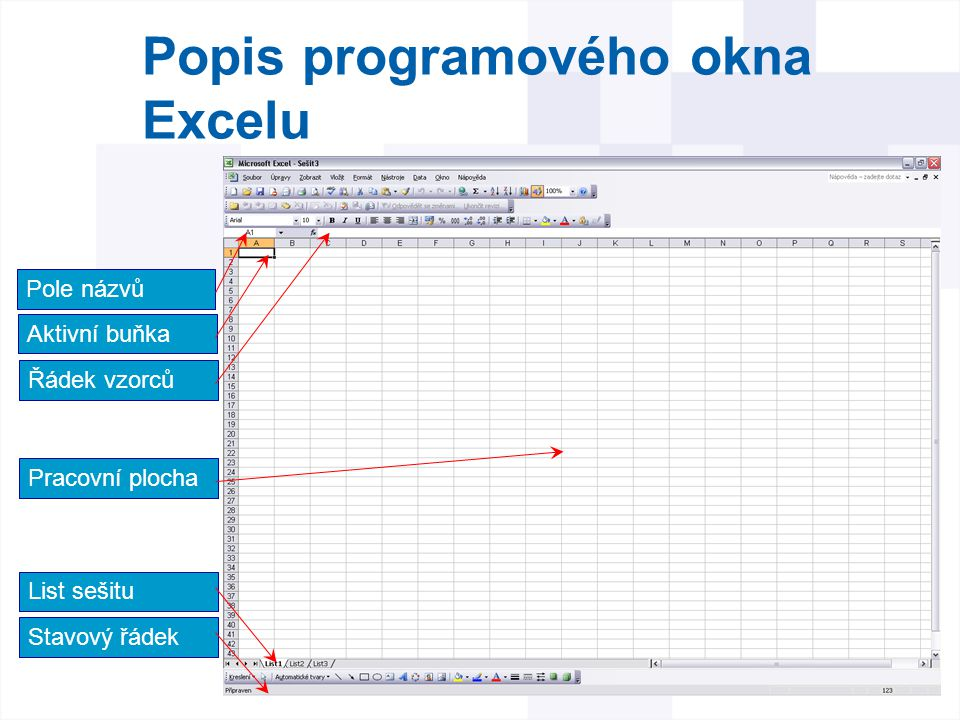 Popis programového okna Excelu