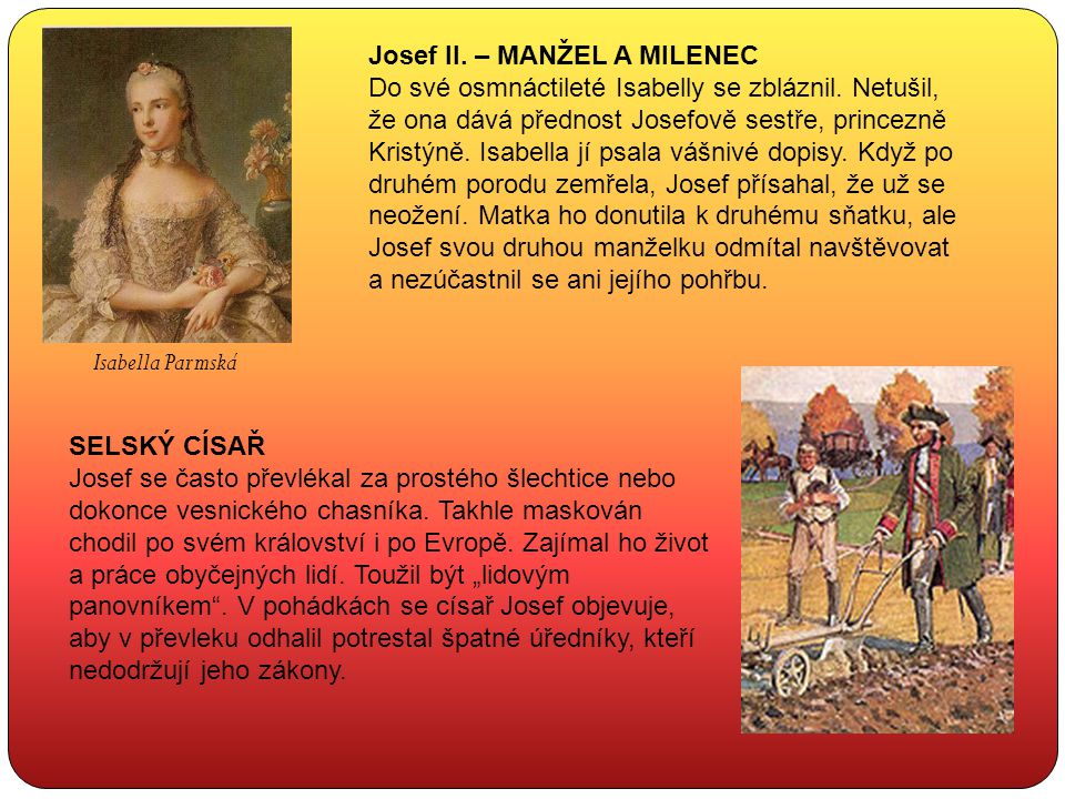 Josef II. – MANŽEL A MILENEC