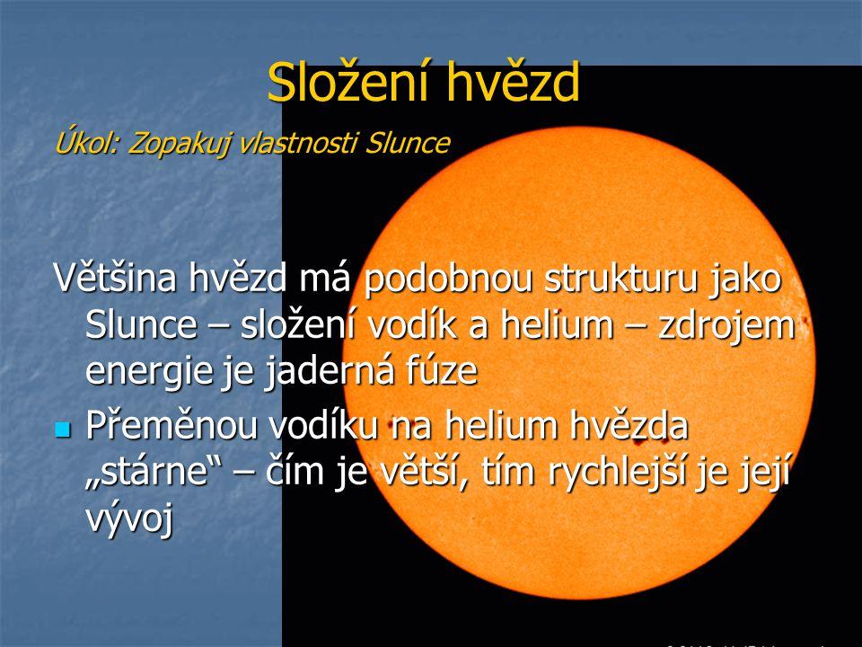 Složení hvězd Úkol: Zopakuj vlastnosti Slunce.