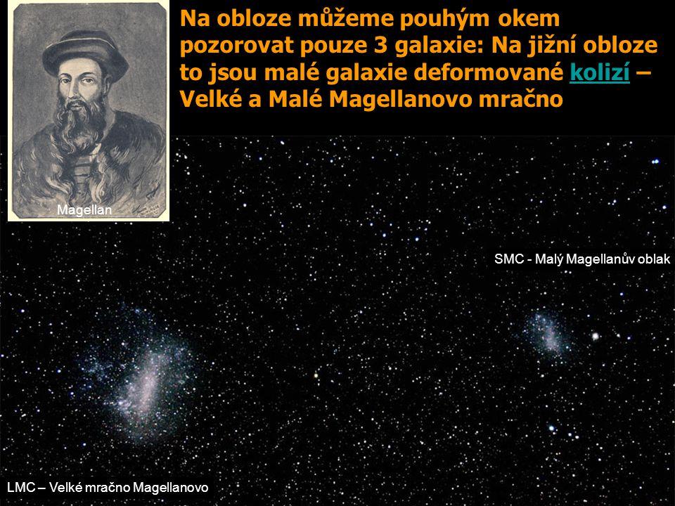 Na obloze můžeme pouhým okem pozorovat pouze 3 galaxie: Na jižní obloze to jsou malé galaxie deformované kolizí – Velké a Malé Magellanovo mračno