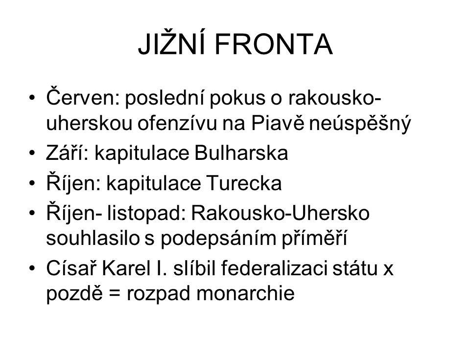 JIŽNÍ FRONTA Červen: poslední pokus o rakousko-uherskou ofenzívu na Piavě neúspěšný. Září: kapitulace Bulharska.