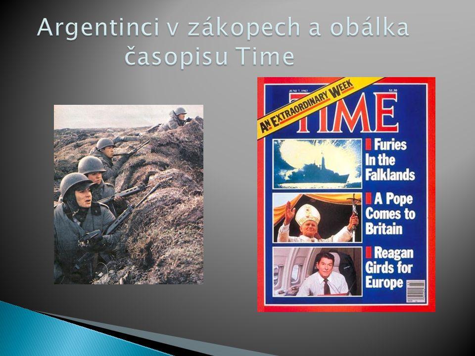 Argentinci v zákopech a obálka časopisu Time