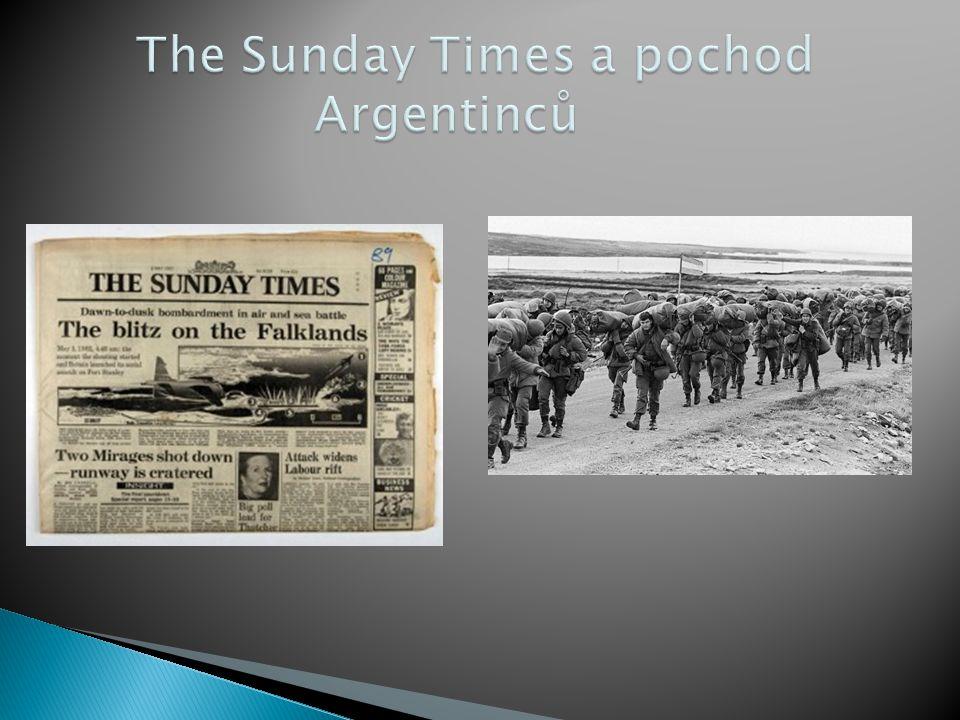 The Sunday Times a pochod Argentinců