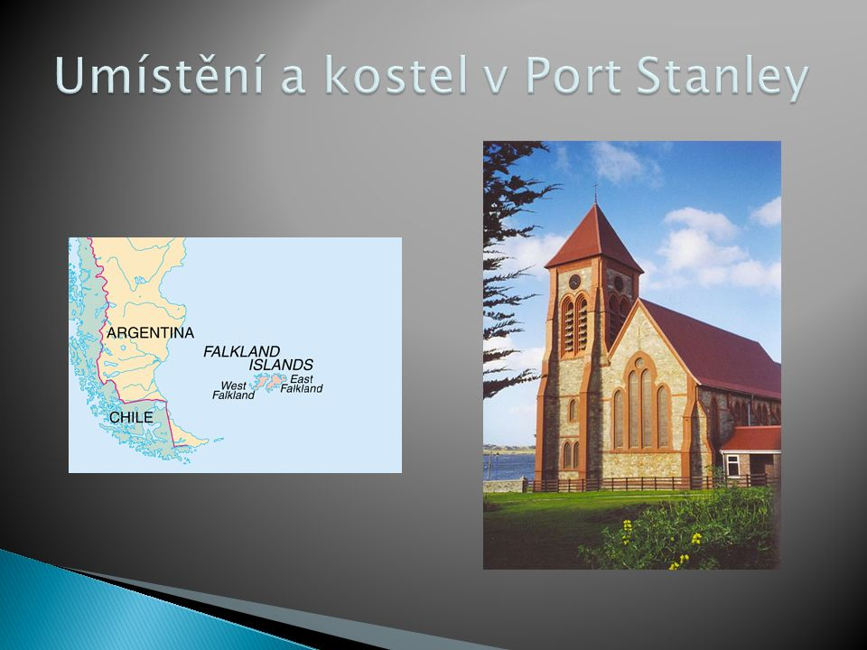 Umístění a kostel v Port Stanley