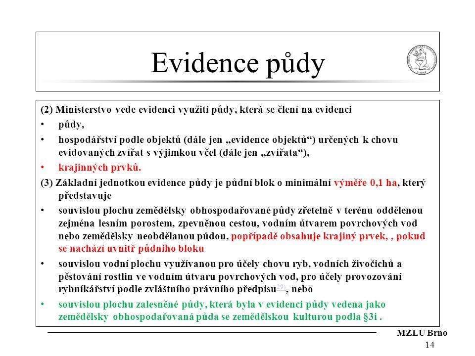 Evidence půdy (2) Ministerstvo vede evidenci využití půdy, která se člení na evidenci. půdy,
