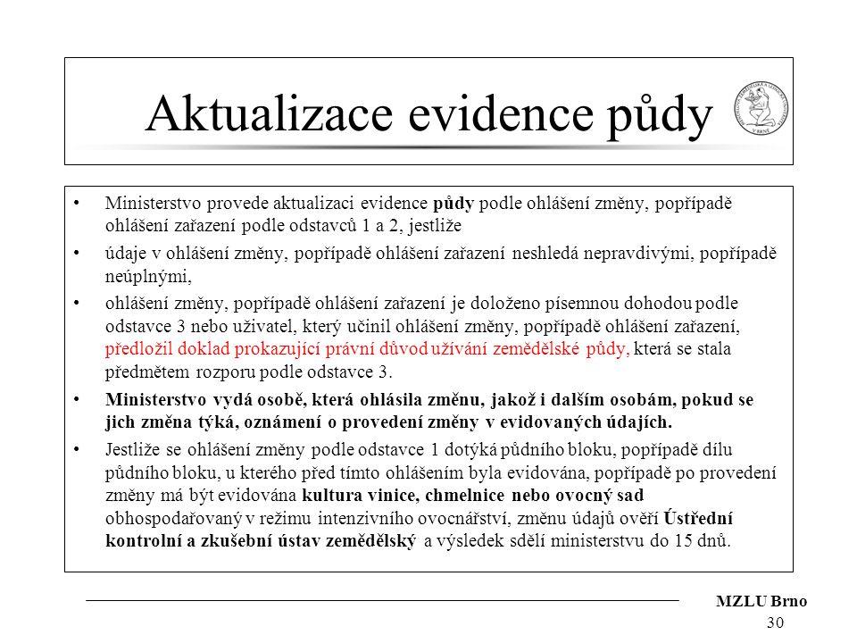 Aktualizace evidence půdy