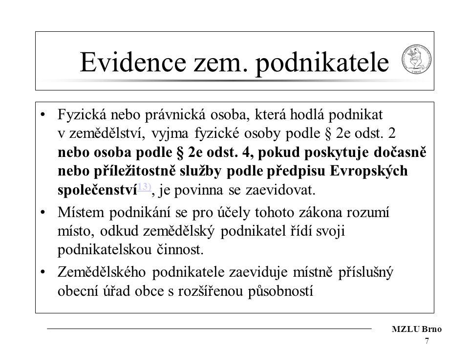 Evidence zem. podnikatele